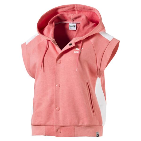 Classics Sleeveless Logo T7 Women's Hoodie, Shell Pink, large