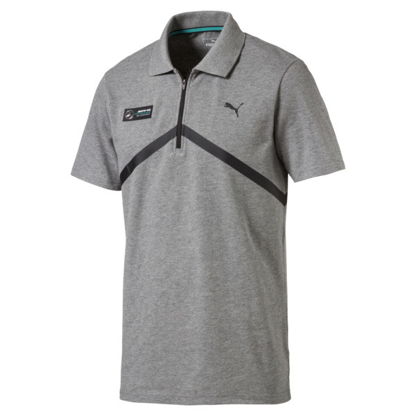 db1f56d03 Męska koszulka polo MERCEDES AMG PETRONAS, Medium Gray Heather, obszerny