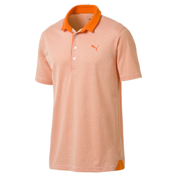 Men's Diamond Jacquard Polo, Vibrant Orange Heather, large