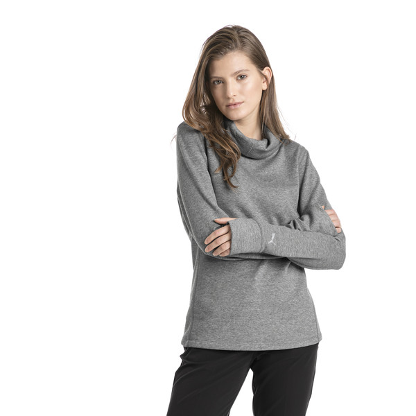 Sudadera abrigada de golf de mujer, Medium Gray Heather, grande