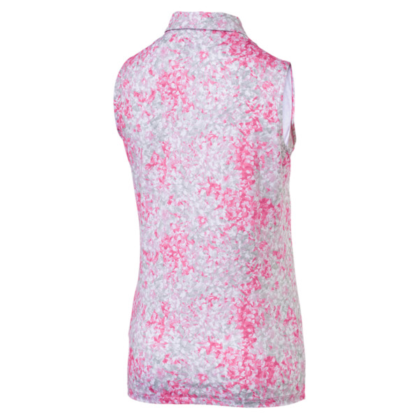 Golf Women's Floral Sleeveless Polo, Carmine Rose, large