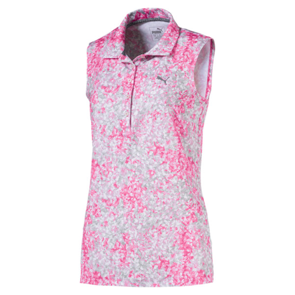 Golf Damen Floral Ärmelloses Polo, Carmine Rose, large