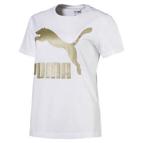 Thumbnail 1 of Classics Logo Women's T-Shirt, Puma White--Gold, medium