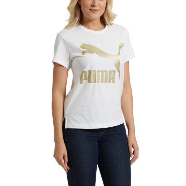 Classics Logo Women's T-Shirt, Puma White--Gold, large