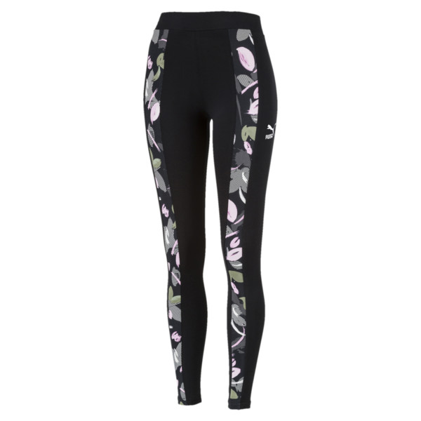 Classics T7 All-Over Print Women's Leggings, Cotton Black-flower uprising, large