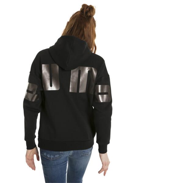 Chaqueta con capucha Retro para mujer, Cotton Black, grande