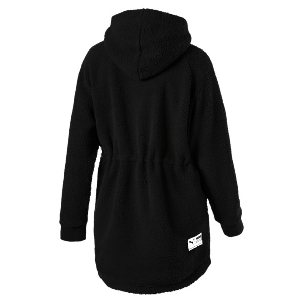 Downtown Winterised Full Zip Women's Sherpa Hoodie, Puma Black, large