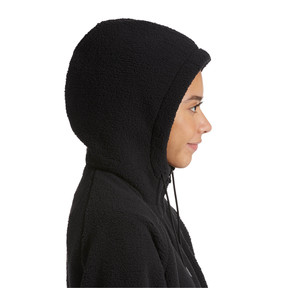 Thumbnail 4 of Downtown Winterised Full Zip Women's Sherpa Hoodie, Puma Black, medium