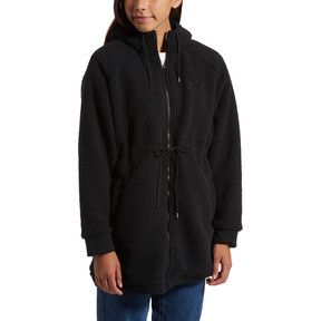Thumbnail 2 of Downtown Winterised Full Zip Women's Sherpa Hoodie, Puma Black, medium