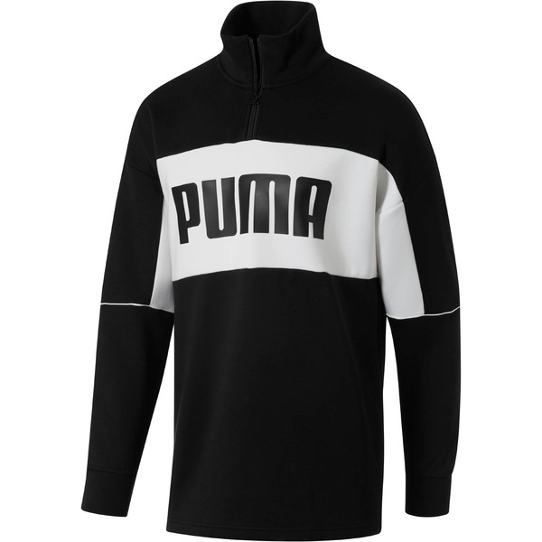 Retro Quarter Zip Turtleneck Men's Pullover, Puma Black-1, large