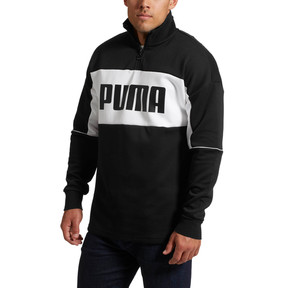 Thumbnail 2 of Retro Quarter Zip Turtleneck Men's Pullover, Puma Black-1, medium
