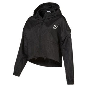 Thumbnail 1 of Retro Windrunner Zip-Up Women's Hooded Jacket, Puma Black, medium