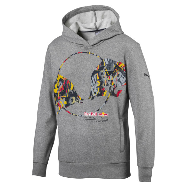 Red Bull Racing Double Bull Men's Hoodie, Medium Gray Heather, large
