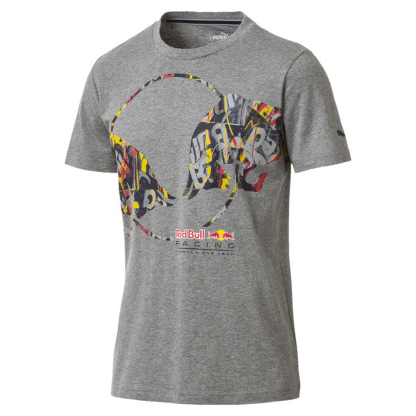 Red Bull Racing Double Bull Men's Tee, Medium Gray Heather, large