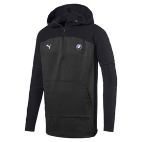 Thumbnail 1 of BMW MMS evoKNIT Quarter Zip Hooded Men's Pullover, Puma Black Heather, medium