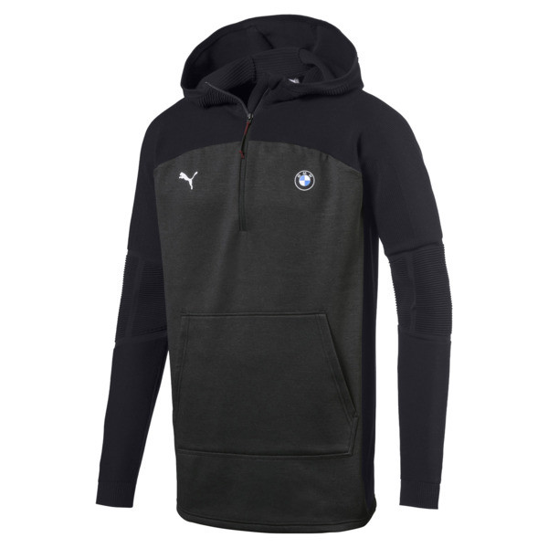 BMW MMS evoKNIT Quarter Zip Hooded Men's Pullover, Puma Black Heather, large