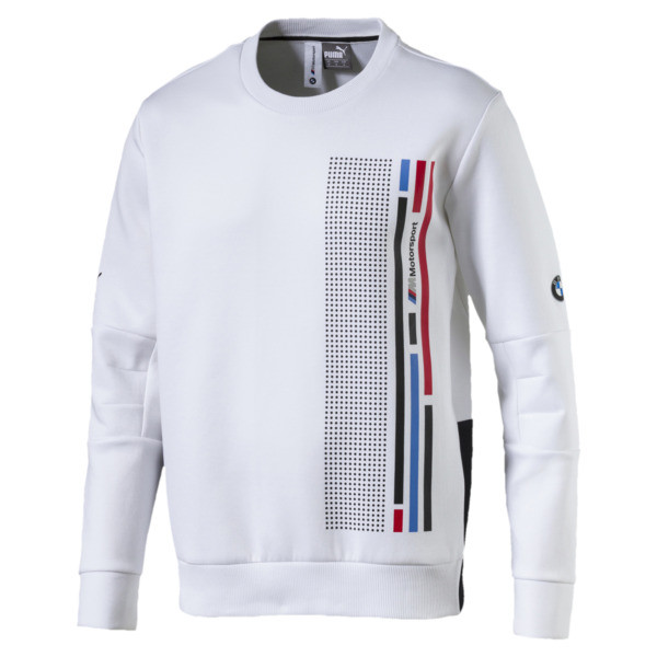 BMW M Motorsport Men's Graphic Long Sleeve Tee, Puma White, large