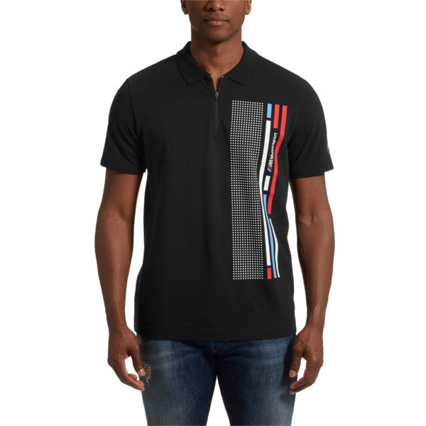 BMW MMS Quarter Zip Men's Graphic Polo, Anthracite, large