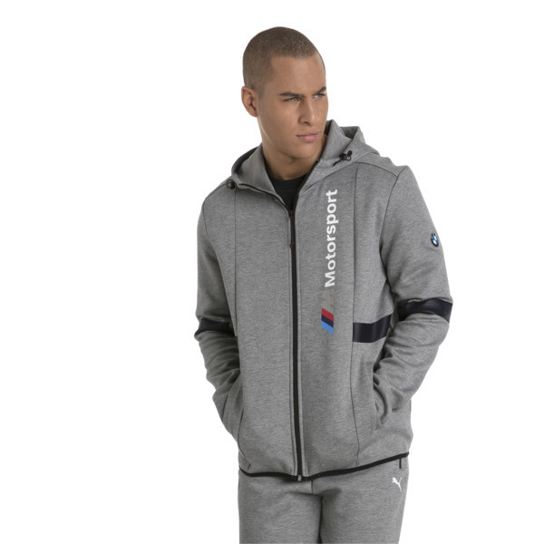 BMW Zip-Up Men's Hoodie, Medium Gray Heather, large