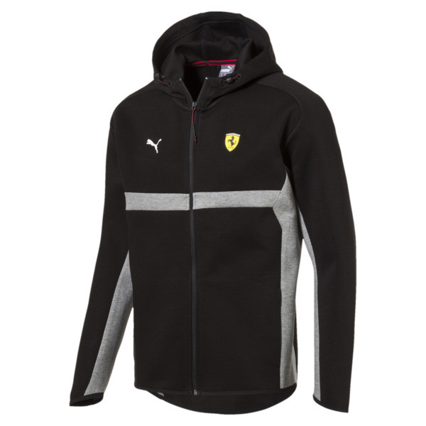 Ferrari Men's Hooded Sweat Jacket, Puma Black, large