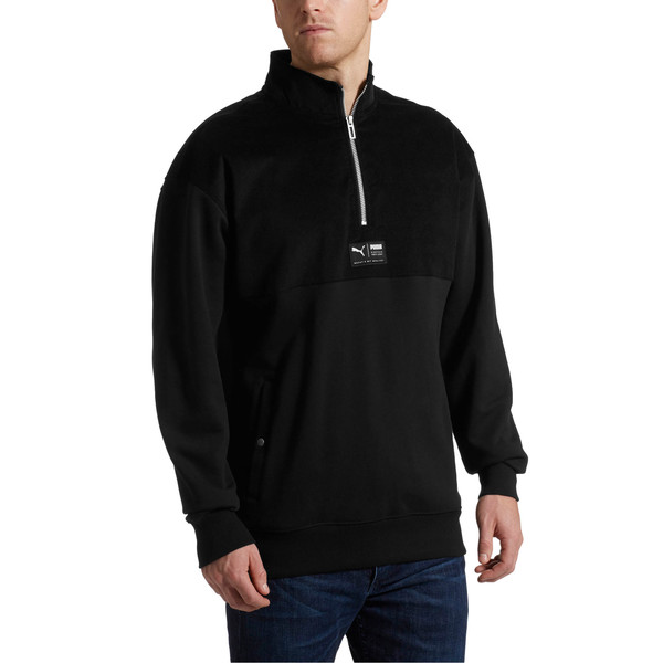 Downtown Half-Zip Sweatshirt, 01, large