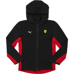 Thumbnail 1 of Scuderia Ferrari Kids Hooded Sweat Jacket, Puma Black, medium