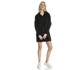 Thumbnail 2 of Downtown Long Sleeve Hooded Women's Dress, Cotton Black, medium