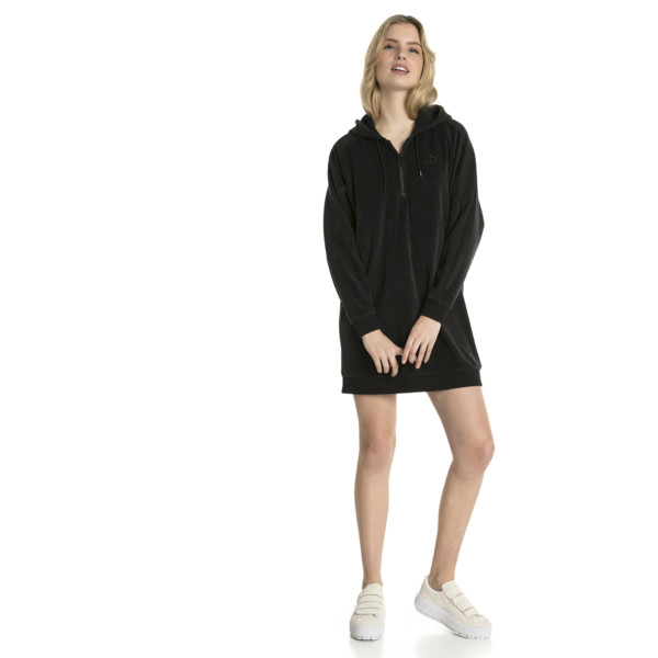 Downtown Long Sleeve Hooded Women's Dress, Cotton Black, large