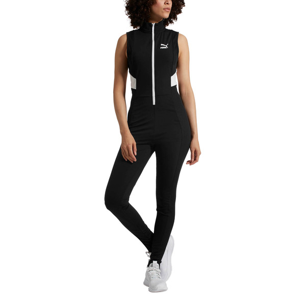 Retro Rib Overall Jumpsuit, Puma Black, large