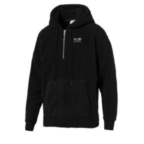 Thumbnail 1 of Downtown Sherpa Half Zip Men's Hoodie, Puma Black, medium