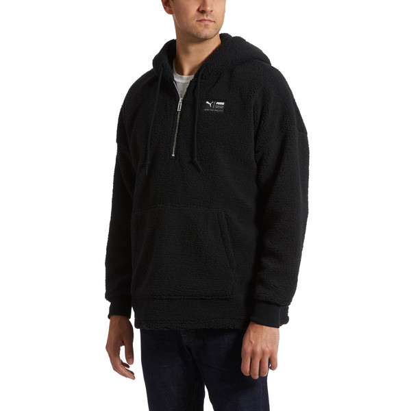 Downtown Sherpa Half Zip Men's Hoodie, Puma Black, large