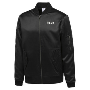 Thumbnail 1 of PUMA x OUTLAW MOSCOW Zip-Up Men's Bomber Jacket, Puma Black, medium