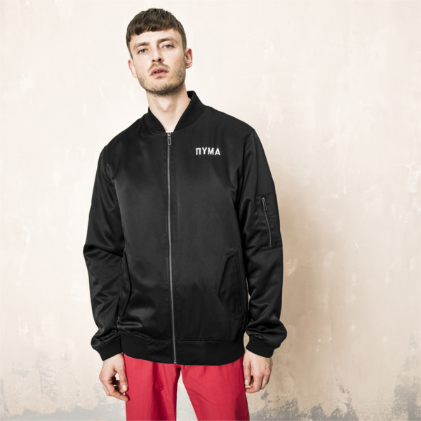 PUMA x OUTLAW MOSCOW Zip-Up Men's Bomber Jacket, Puma Black, large