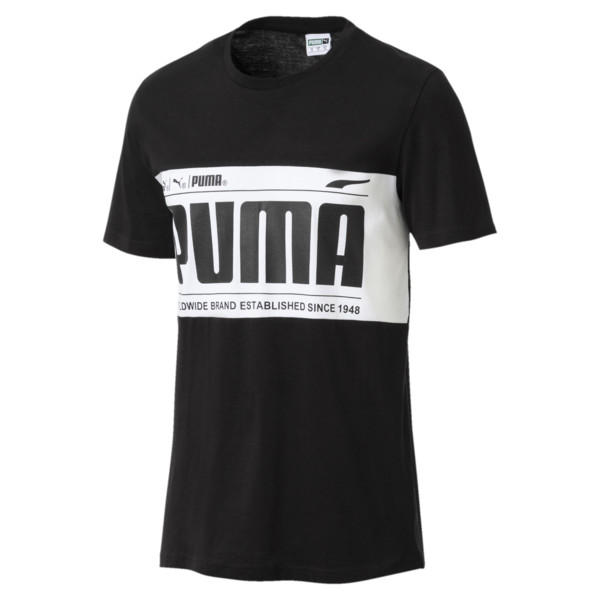 Graphic Logo Block Men's Tee, Cotton Black-1, large