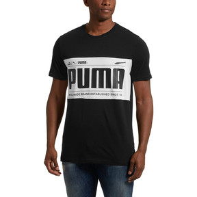 Thumbnail 2 of Graphic Logo Block Men's Tee, Cotton Black-1, medium