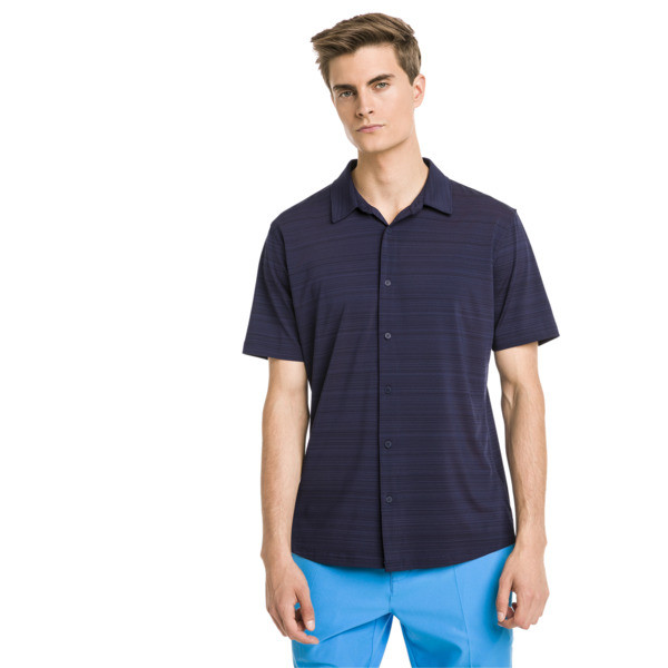 Breezer Short Sleeve Men's Golf Shirt, Peacoat, large