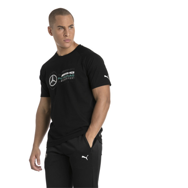 MERCEDES AMG PETRONAS Men's Logo T-Shirt, Puma Black, large