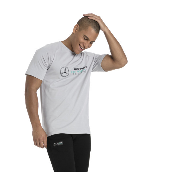 MERCEDES AMG PETRONAS Men's Logo T-Shirt, Mercedes Team Silver, large