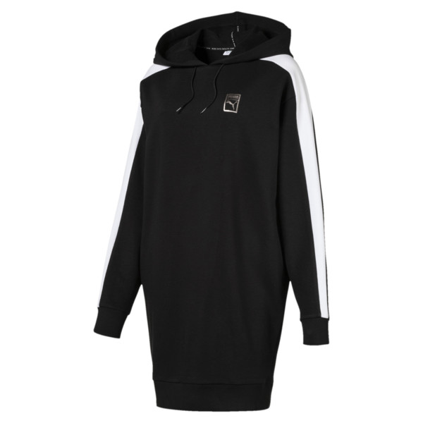 T7 Chains Hooded Women's Dress, Cotton Black, large