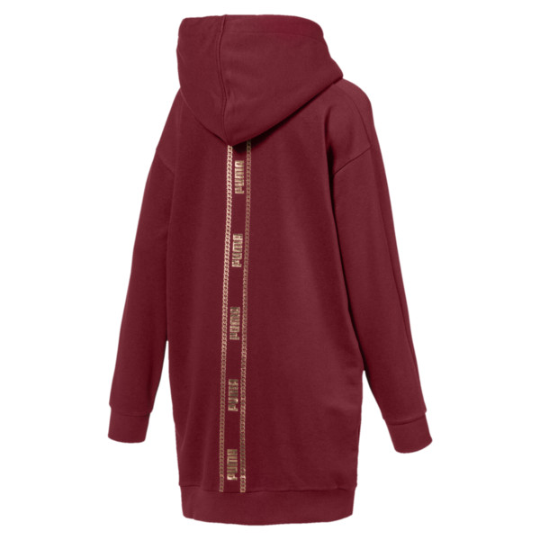 T7 Chains Hooded Women's Dress, Pomegranate, large