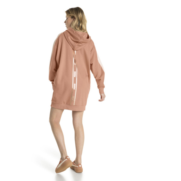 T7 Chains Hooded Women's Dress, Dusty Coral, large