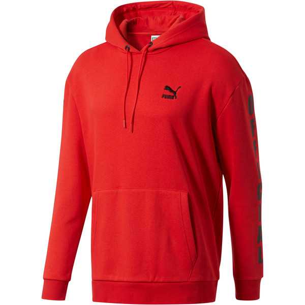Men's Fleece Hoodie, High Risk Red-puma black, large