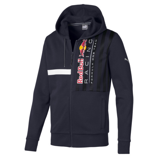 Red Bull Racing Logo Men's Hooded Sweat Jacket, NIGHT SKY, large