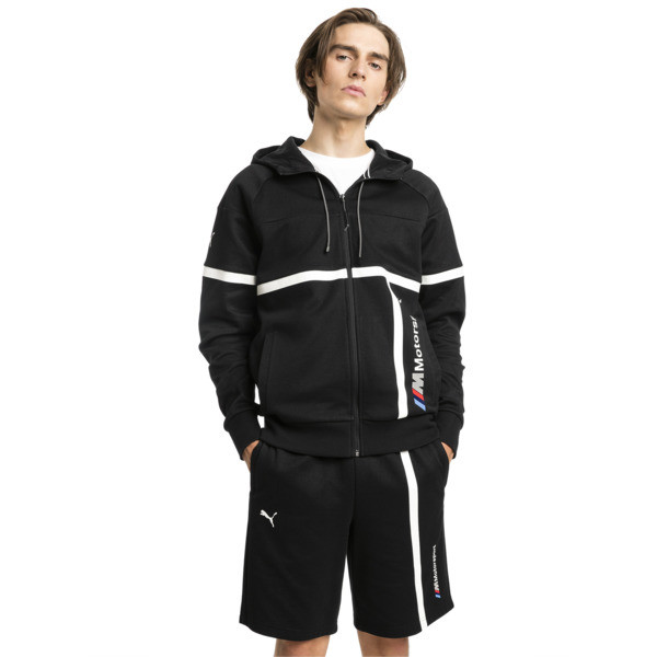 BMW MMS Men's Hooded Sweat Jacket, Puma Black, large