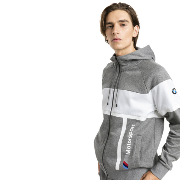 BMW MMS Men's Hooded Sweat Jacket, Medium Gray Heather, large