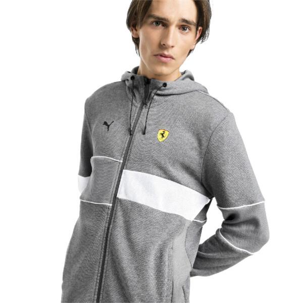 Ferrari Hooded Zip-Up Men's Jacket, Medium Gray Heather, large