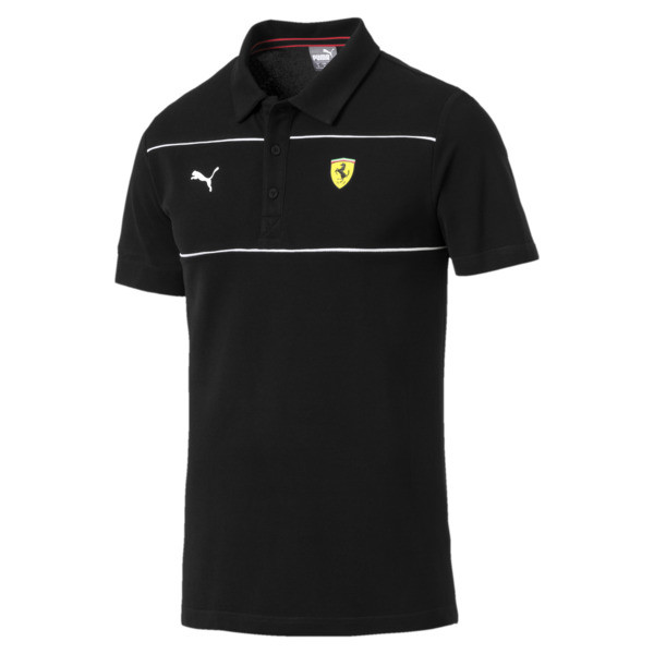 Ferrari Men's Branded Polo Shirt, Puma Black, large