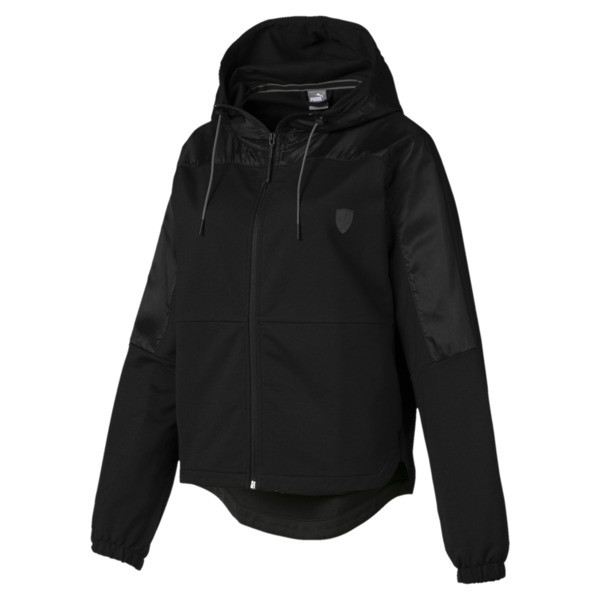 Ferrari Hooded Women's Sweat Jacket, Puma Black, large
