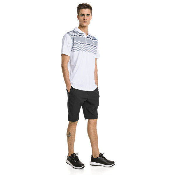 Męska koszulka polo do golfa Road Map, Bright White-Puma Black, obszerny