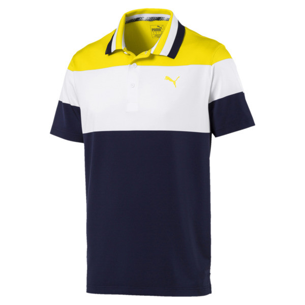 Nineties Men's Golf Polo, Blazing Yellow, large